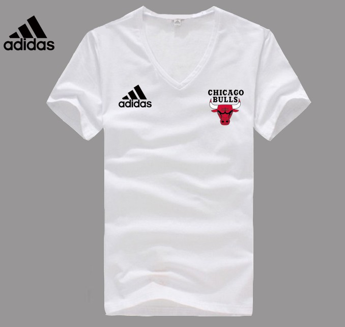 Adidas Chicago Bulls white V-neck T-shirt
