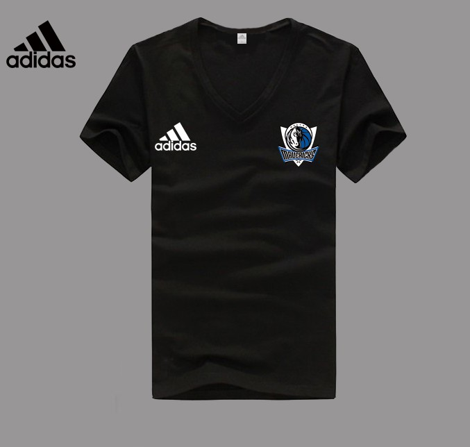 Adidas Dallas Mavericks black V-neck T-shirt