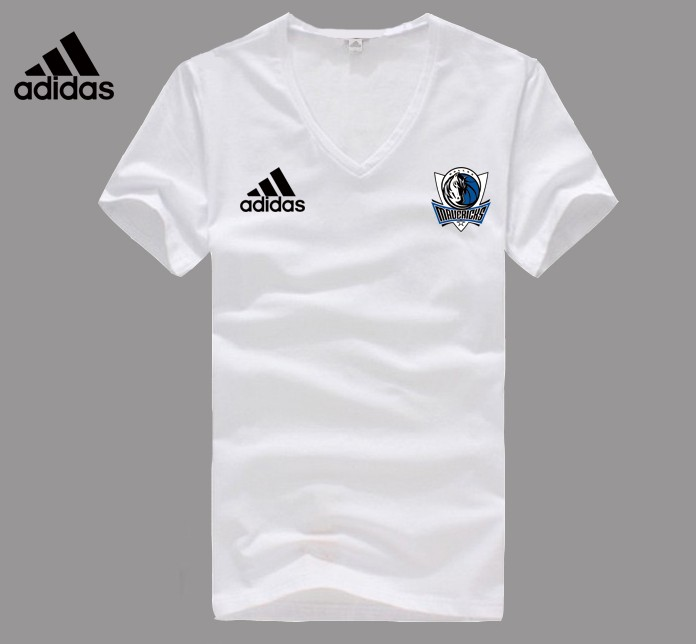 Adidas Dallas Mavericks white V-neck T-shirt