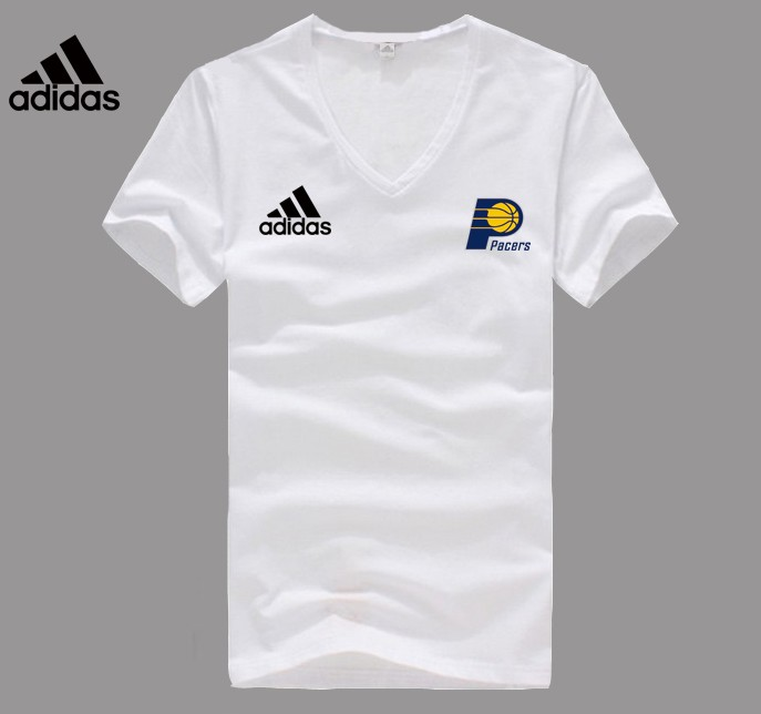 Adidas Indiana Pacers white V-neck T-shirt