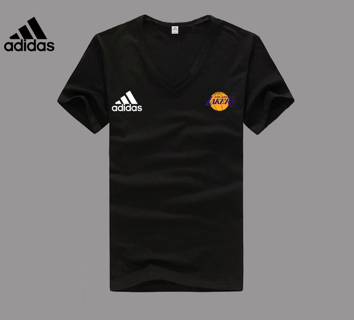 Adidas Los Angeles Lakers black V-neck T-shirt