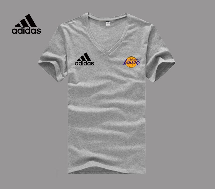 Adidas Los Angeles Lakers grey V-neck T-shirt