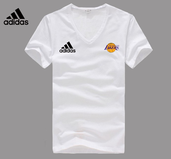 Adidas Los Angeles Lakers white V-neck T-shirt