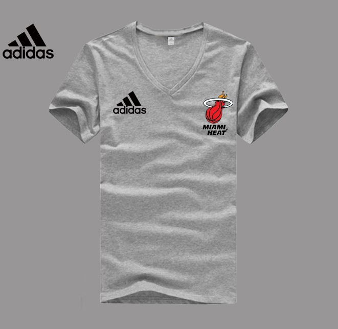 Adidas Miami Heat grey V-neck T-shirt