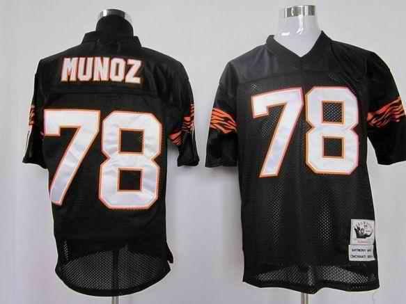 Bengals 78 Munoz Black Throwback Jerseys
