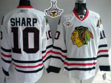 Blackhawks 10 Patrick Sharp White 2013 Stanley Cup Champions Jerseys