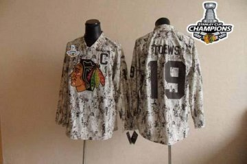 Blackhawks 19 Jonathan Toews Camouflage 2013 Stanley Cup Champions Jerseys