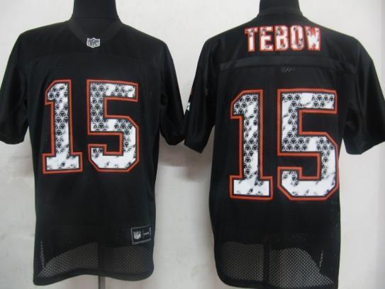 Broncos 15 Tebow Black United Sideline Jerseys
