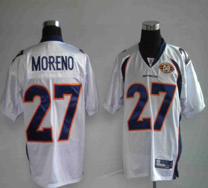 Broncos 27 Knowshon Moreno White 50TH Anniversary Jerseys