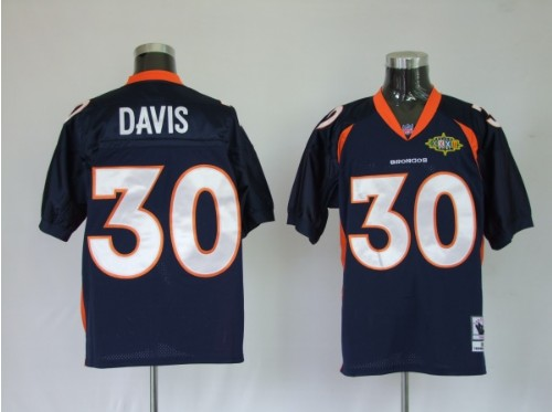 Broncos 30 Terrell Davis Premier Blue Throwback Jerseys