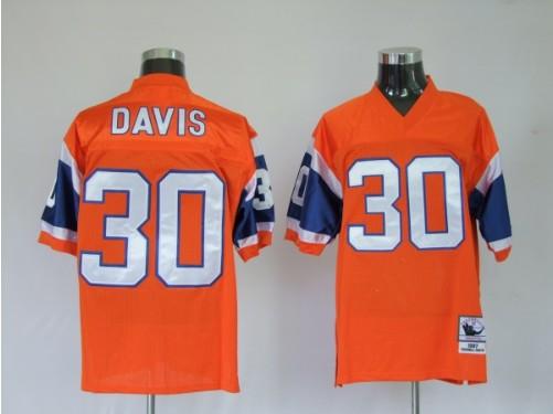 Broncos 30 Terrell Davis Premier Orange Throwback Jerseys
