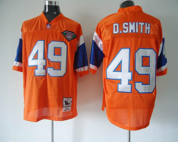 Broncos 49 D.Smith Orange Throwback Jerseys