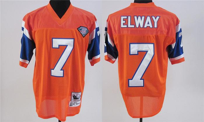 Broncos 7 Elway Orange 75th Throwback Jerseys