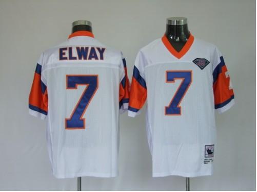 Broncos 7 John Elway White Throwback Jerseys