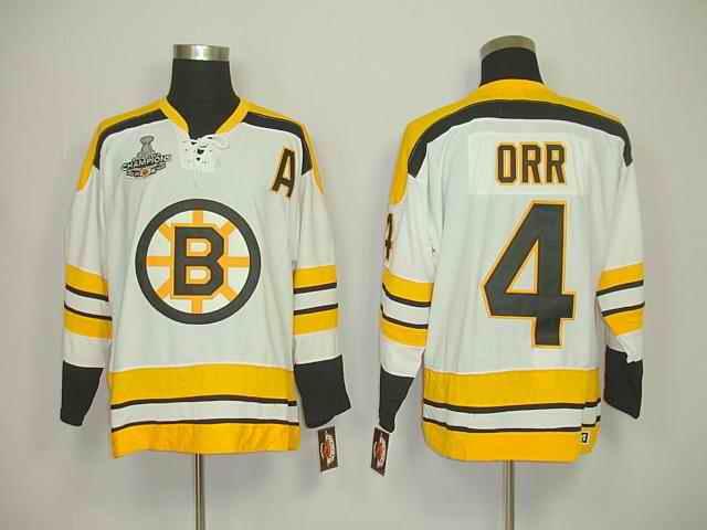 Bruins 4 Orr White Champions Jerseys