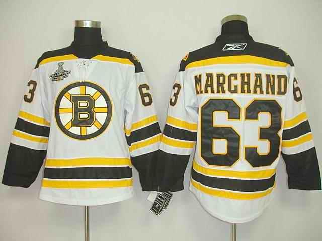 Bruins 63 Marghand White Champion Jerseys