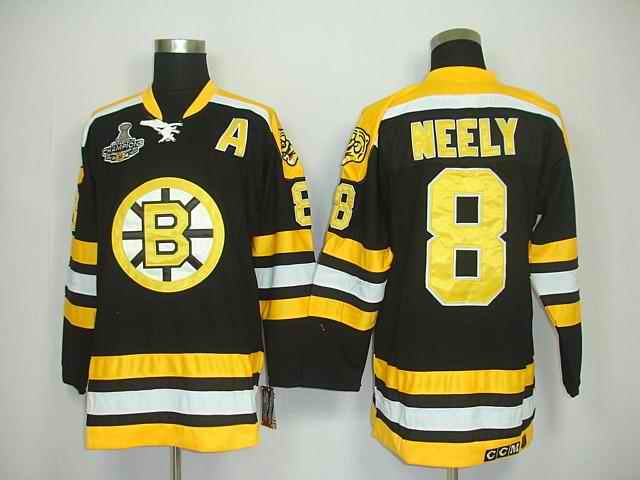 Bruins 8 Neely Black Chamions Jerseys
