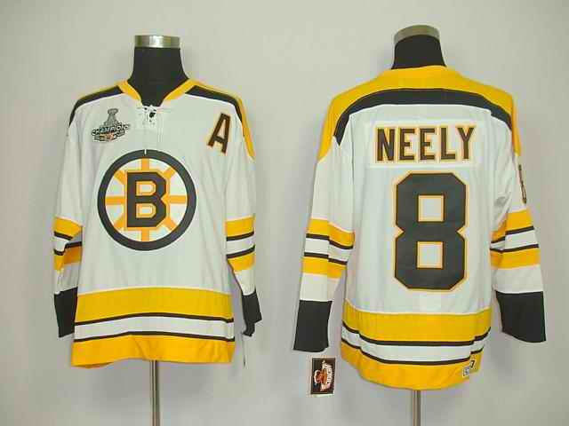 Bruins 8 Neely White Chamions Jerseys