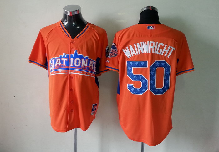 Cardinals 50 Wainwright orange 2013 All Star Jerseys