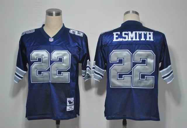Cowboys 22 E.SMITH Blue silver number jerseys