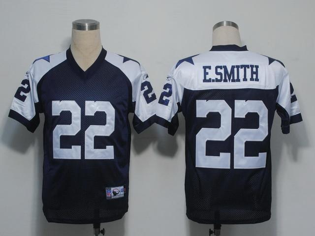 Cowboys 22 E.Smith Blue Thanksgiving Jerseys