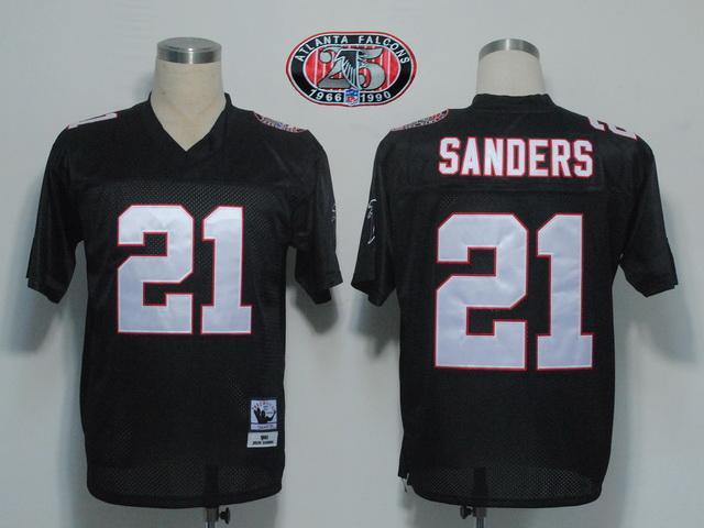 Falcons 21 Deion Sanders black m&n 1990 Jerseys