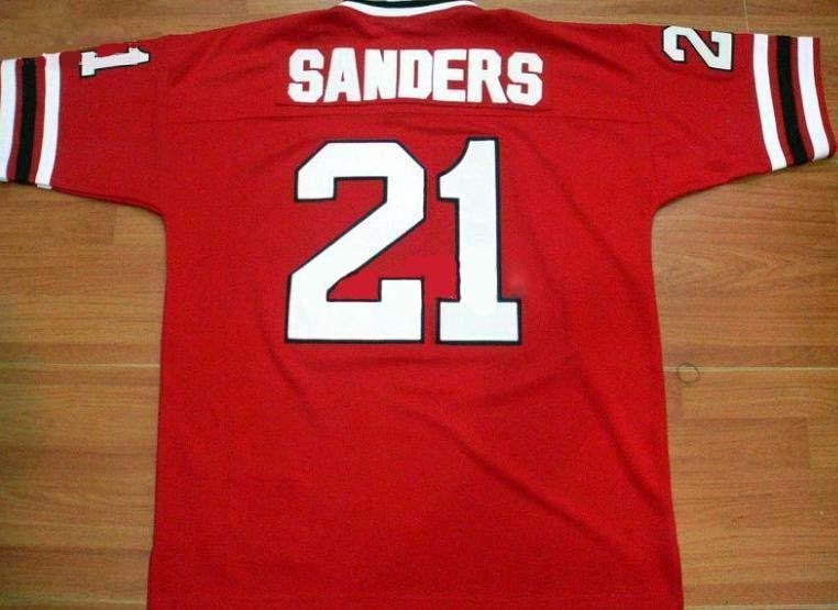 Falcons 21 Deion Sanders red Jerseys