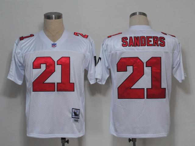 Falcons 21 Deion Sanders white m&n Jerseys