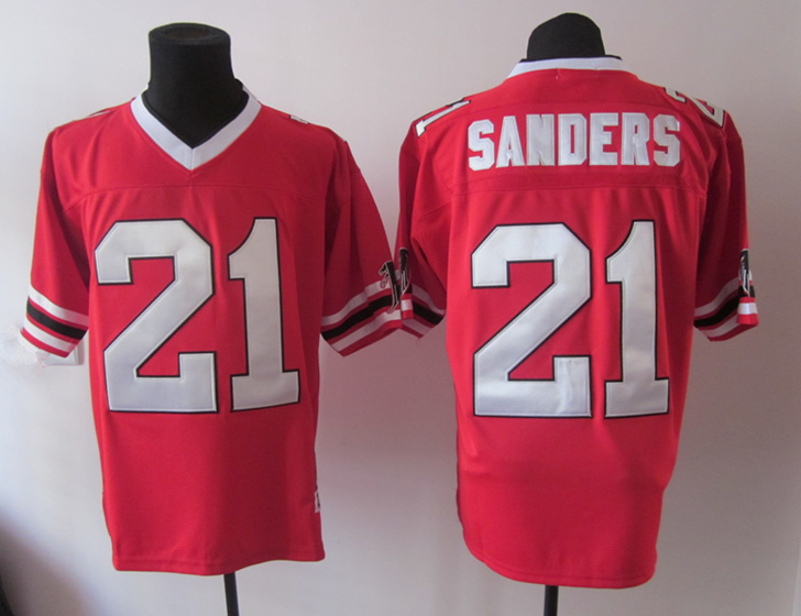 Falcons 21 Sanders Red Throwback Jerseys