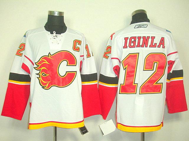 Flames 12 Iginla White C Patch Jerseys