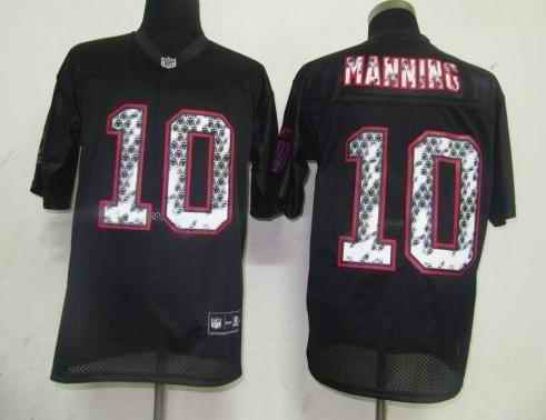 Giants 10 Eli Manning black united sideline Jerseys