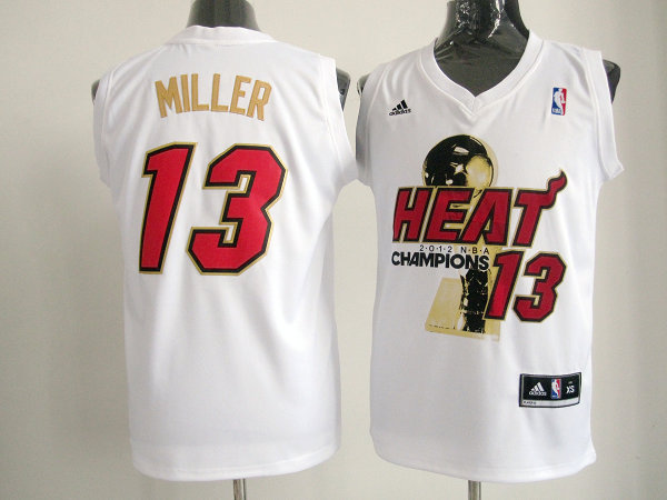 Heat 13 Miller White 2012 NBA Champions Jerseys