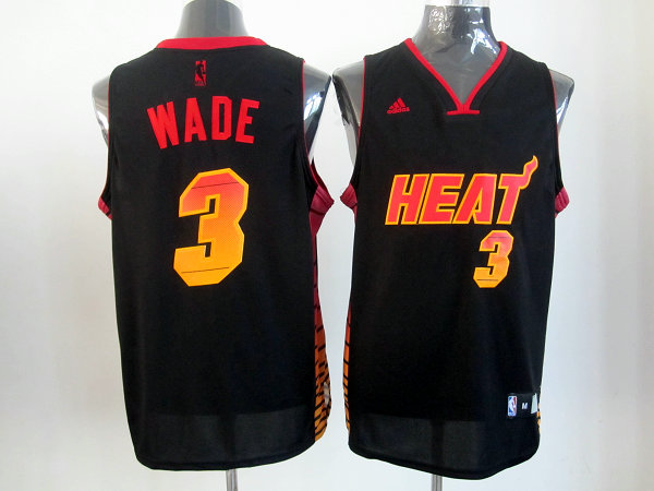 Heat 3 Wade Black Colorful Edition Jerseys