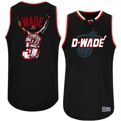 Heat 3 Wade Black Jerseys