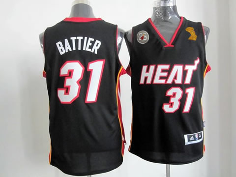 Heat 31 Battier Black 2013 Champion&25th Patch Jerseys