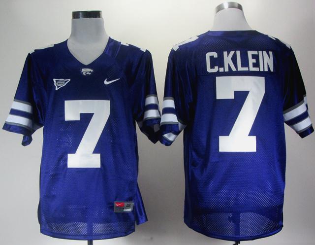 Kansas State 7 Collin Klein Big 12 Patch Purple Jerseys