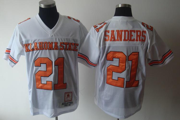 Klahoma State 21 Sanders white Jerseys