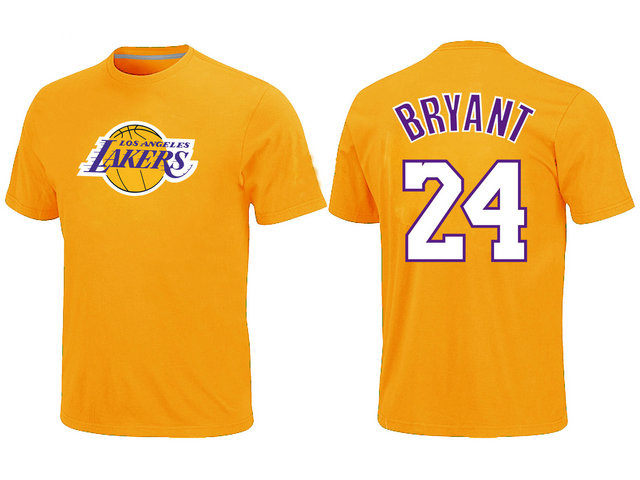 Los Angeles Lakers 24 Kobe Bryant Big & Tall Name and Number Yellow T-Shirt