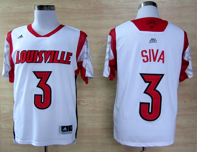 Louisville Cardinals 3 Siva White Big East Jerseys