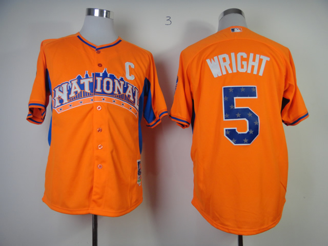 Mets 5 Wright orange C Patch 2013 All Star Jerseys