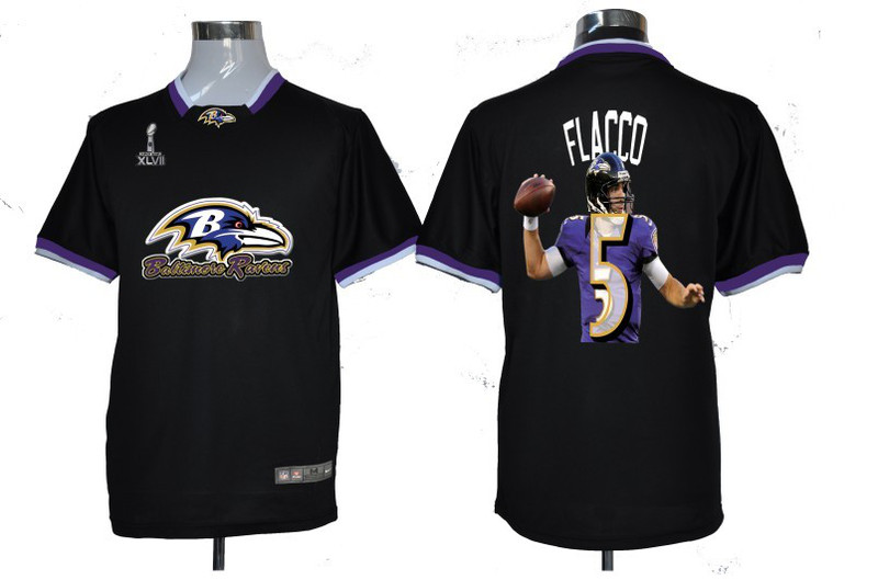 NIKE TEAM ALL-STAR Ravens 5 Flacco Black 2013 Super Bowl XLVII Jerseys