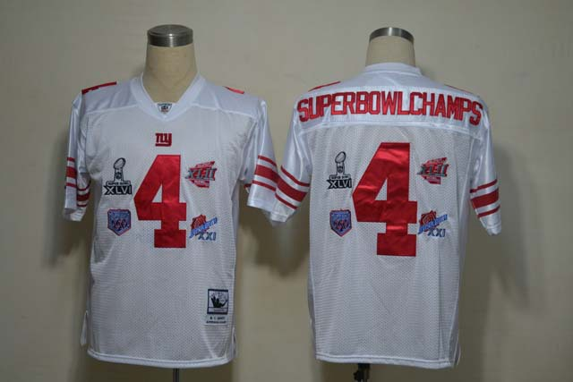New York Giants 4 SuperBowl Champs White Jerseys