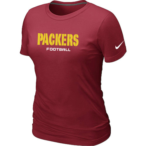 Nike Green Bay Packers Sideline Legend Authentic Font Women's T-Shirt Red