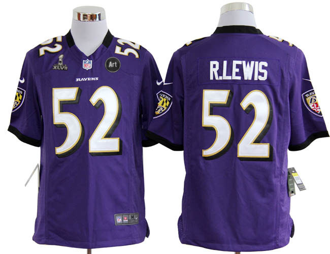 Nike Ravens 52 R.lewis purple Game 2013 Super Bowl XLVII and Art Jerseys