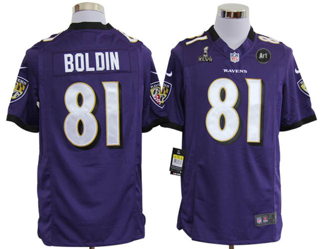 Nike Ravens 81 Boldon purple Game 2013 Super Bowl XLVII and Art Jerseys