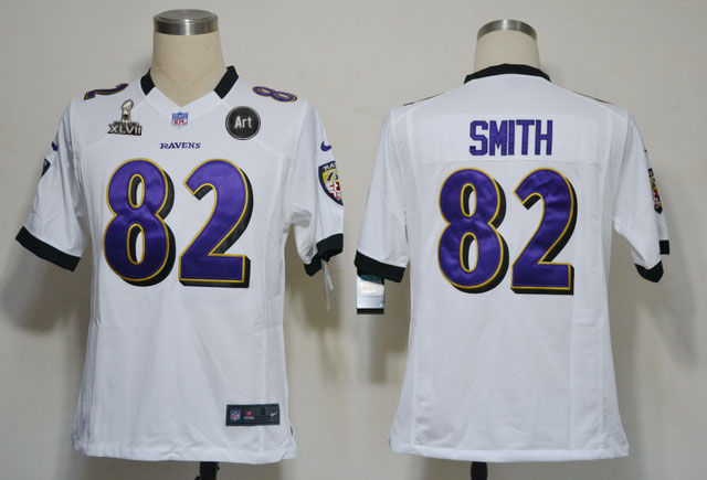 Nike Ravens 82 Smith white Game 2013 Super Bowl XLVII and Art Jerseys