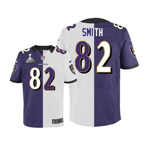 Nike Ravens 82 Torrey Smith Purple&White Split Elite 2013 Super Bowl XLVII Jersey