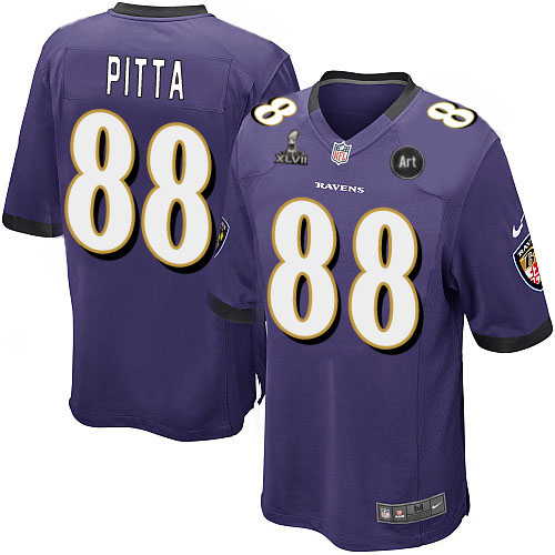 Nike Ravens 88 Pitta purple Game 2013 Super Bowl XLVII and Art Jerseys