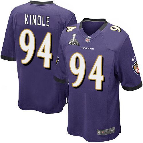 Nike Ravens 94 Sergio Kindle Purple Game 2013 Super Bowl XLVII Jersey