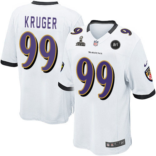 Nike Ravens 99 Kruger white Game 2013 Super Bowl XLVII and Art Jerseys